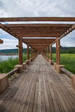 Arctic river sandbar log promenade Mohe Arctic Village Stock Photos