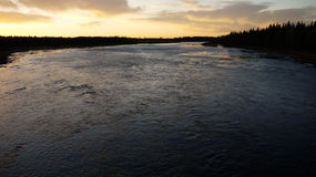 Sunset over an Arctic river Royalty Free Stock Photography