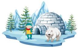 Arctic scene with boy and polar bear by igloo. Illustration royalty free illustration
