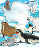 Arctic scenery - cartoon style with animals Royalty Free Stock Photos