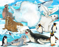 Arctic scenery - cartoon style with animals Stock Photo