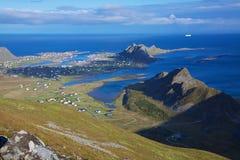 Island Vaeroy. Arctic scenic island of Vaeroy on Lofoten, Norway, on sunny summer day Royalty Free Stock Photos