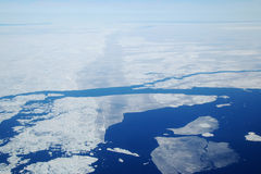 Arctic Sea Ice. An aerial view of sea ice breaking up during the arctic summer Stock Photos