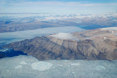 Arctic Sea Ice. North of Cornwallis Island an aerial view of an arctic headland and sea ice during the arctic summer Stock Photography