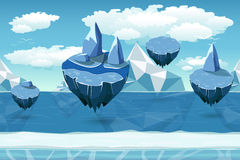 Arctic seamless cartoon landscape, endless pattern with icebergs and snow islands. Flying island landscape, nature game winter, cool interface game, panorama vector illustration