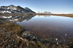 Arctic summer landscape - mountains and tundra Stock Image