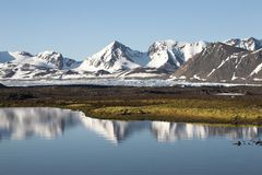 Arctic summer landscape - water reflection. Arctic summer landscape - mountains, tundra, water Royalty Free Stock Photos