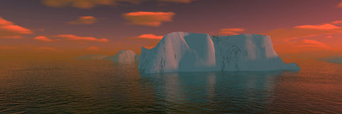Arctic sunset. Arctic icebergs from the boat Stock Photo