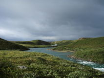 Arctic Tundra. The Tree River, Nunavut, Canada, in the far Arctic stock photo