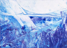 Arctic under water fantasy. Encaustic art. Arctic under water fantasy. Ice mountins Royalty Free Stock Photography