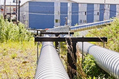 Arctic utilities ducts in Inuvik Stock Images