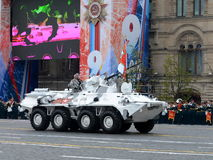 The Arctic version of the BTR-82A with a banner during a parade devoted to the Victory Day. Royalty Free Stock Photo