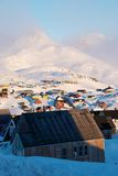 Arctic wind. Inuit village with katabatic wind on mountains stock photos