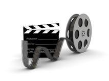 Ardósia da película com o carretel de película do filme Fotos de Stock Royalty Free