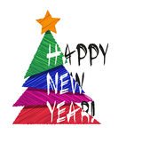 Ard ¡ Ð с рождественской елкой Новый Год принципиальной схемы вектор изображения иллюстрации элемента конструкции Стоковое Изображение RF