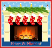 Сard for the celebration of St. Nicholas day. Royalty Free Stock Photos