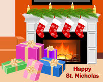 Сard for the celebration of St. Nicholas day. Royalty Free Stock Photo