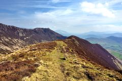 The ridgeline along to Ard Crags. Ard Crag ridge below Scar Crag Royalty Free Stock Images
