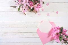 Ard de ¡ de Ð avec une enveloppe rose et des fleurs roses de pommier sur l'OE photos libres de droits