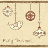 ?ard di saluto con la decorazione dell'albero di Natale Immagini Stock Libere da Diritti