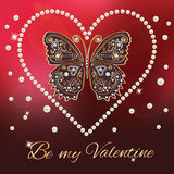 Ard with golden butterfly and pearls heart. Valentine`s Day card with golden butterfly and pearls border heart. text be my valentine on luxury red plum Stock Photography