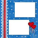 Сard with hearts on the abstract blue background Royalty Free Stock Photos