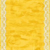 Сard for invitation or congratulation with laces. Yellow card for invitation or congratulation with white laces Royalty Free Stock Images