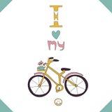 Сard med en rosa cykel. Arkivfoto