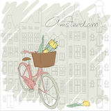 Сard with pretty bicycle and yellow tulip on Amst Royalty Free Stock Image