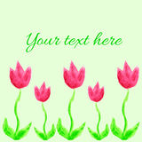 Сard with watercolor pink tulips. Сhildren's drawings style Royalty Free Stock Images