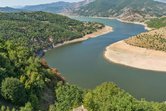 Arda River meander and Rhodopes mountain, Bulgaria Royalty Free Stock Images