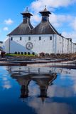 Ardbeg whisky distillery`s established in 1815, Islay, Scotland. ISLAY, SCOTLAND - SEPT 13 2017: Ardbeg whisky distillery`s established in 1815. The traditional stock image