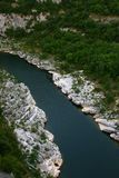Ardeche canyon. Morning nature park in France royalty free stock image
