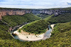 Ardeche river bend Royalty Free Stock Photo
