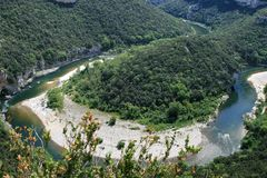 The Ardeche river in south-central France Stock Images