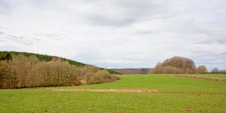 Ardennes landscape with green maedows and  layers of bare deciduous and pine trees under a cloudy sky. Ardennes landscape with lush green meadows and layers of Stock Photography
