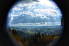 Ardennes landskap med lotten av moln som tas med en fisheyelins! Arkivfoto