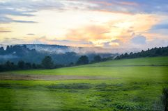 Ardennes solnedgång Fotografering för Bildbyråer