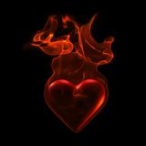 Ardent heart. In flame on grunge background Royalty Free Stock Photo