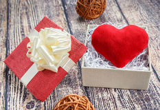 Ardent heart as a gift to his beloved on Valentine`s Day. Royalty Free Stock Image