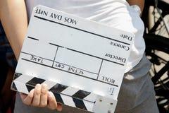 Ardesia del film, dietro la scena fotografia stock libera da diritti
