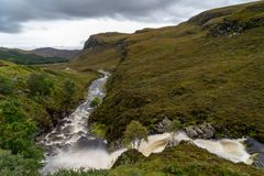 Ardessie Waterfall Cascades. Dundonnell river, scottish highlands Royalty Free Stock Image