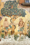 Ardez (Engadine) :亚当和伊芙 免版税库存照片