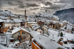Ardez HDR. January 2014, winter scenery in Ardez (Switzerland), HDR-technique Royalty Free Stock Image