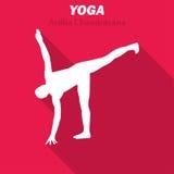 Ardha Chandrasana Joga treningu ikona z długim cieniem również zwrócić corel ilustracji wektora Obraz Stock