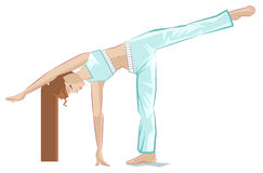Ardha chandrasana pose. Yoga girl in crescent pose Royalty Free Stock Photos