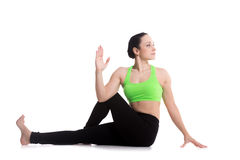 Ardha Matsyendrasana yoga pose Royalty Free Stock Photo
