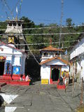 Ardhnareswar Temple beside Shiva Temple, Guptakashi, India. Ardhnareswar Temple on the right is in Guptakashi Hidden Shiva in the Himalayas, Rudraprayag District Stock Image