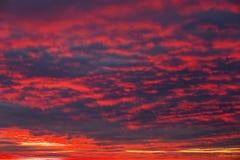 Ardientemente, cielo de la puesta del sol de los colores anaranjados y rojos imagenes de archivo