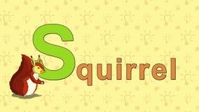 Ardilla Alfabeto inglés del PARQUE ZOOLÓGICO - letra S stock de ilustración